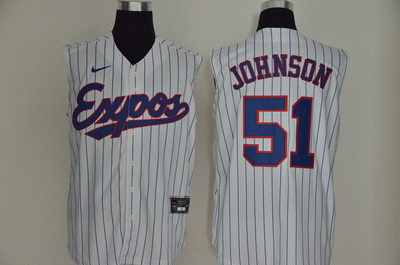 Expos 51 Randy Johnson White Nike Cool Base Sleeveless Jersey