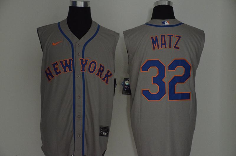 Mets 32 Steven Matz Gray Nike Cool Base Sleeveless Jersey