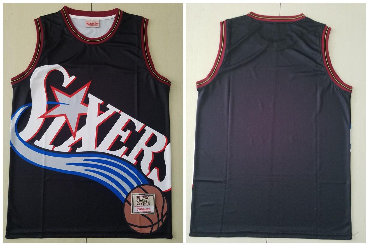 76ers Big Face Black Hardwood Classics Swingman Jersey