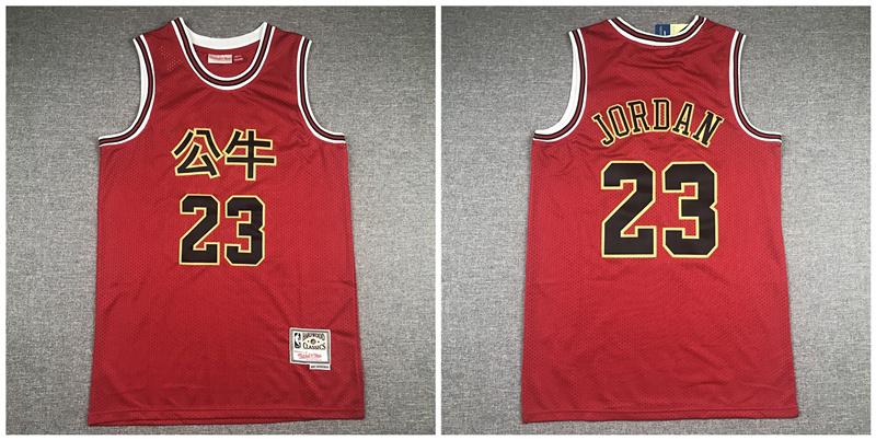 Bulls 23 Michael Jordan Red Hardwood Classics 2019 Chinese New Year Swingman Jersey
