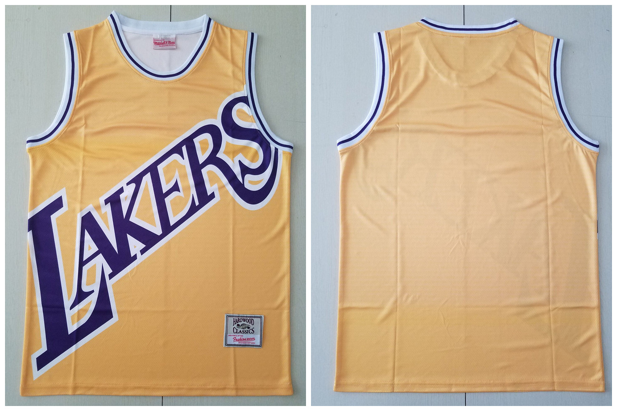 Lakers Big Face Yellow Hardwood Classics Swingman Jersey