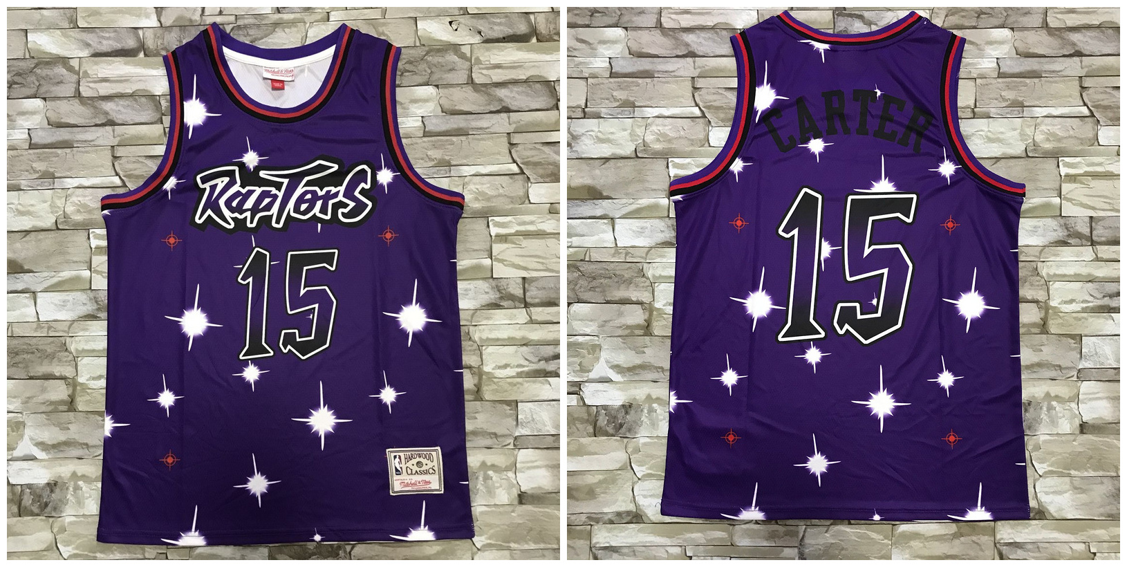 Raptors 15 Vince Carter Purple Star Hardwood Classics Jersey
