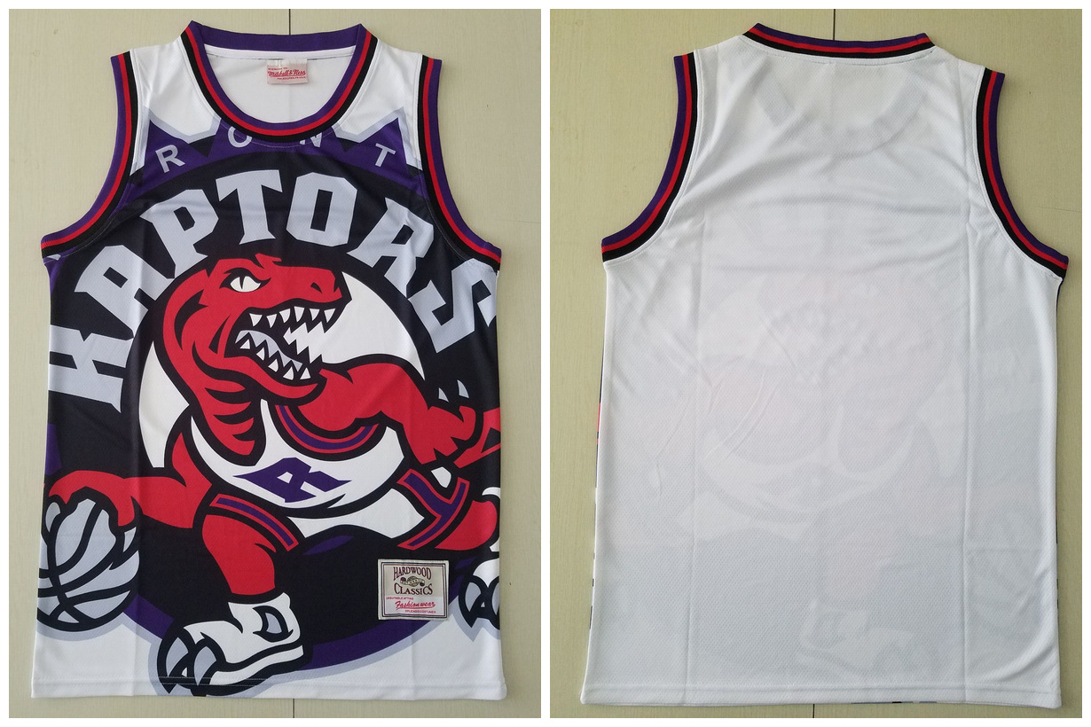 Raptors Big Face White Hardwood Classics Swingman Jersey
