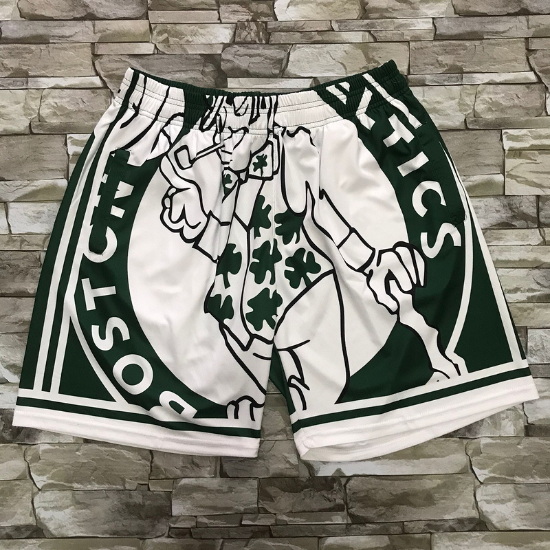 Celtics Green Black Big Face With Pocket Swingman Shorts