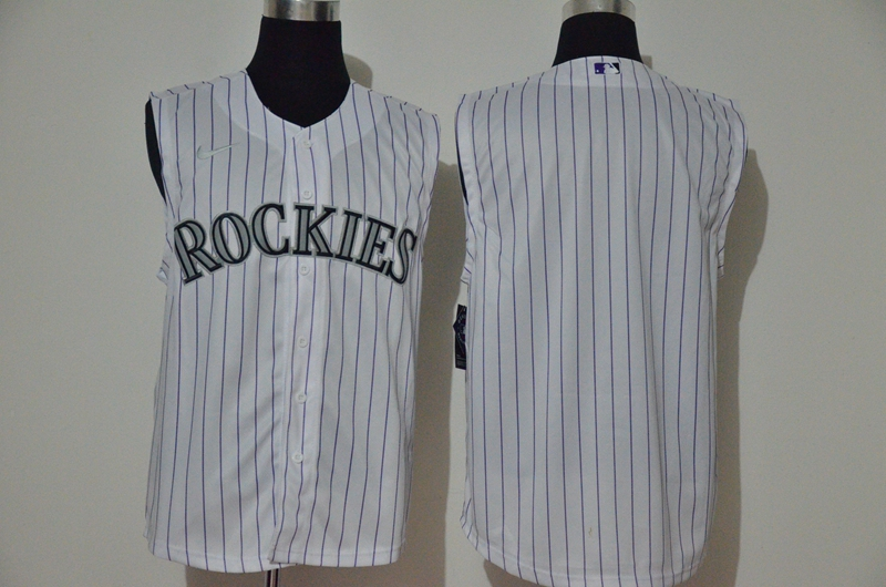 Rockies Blank White Nike Cool Base Sleeveless Jersey