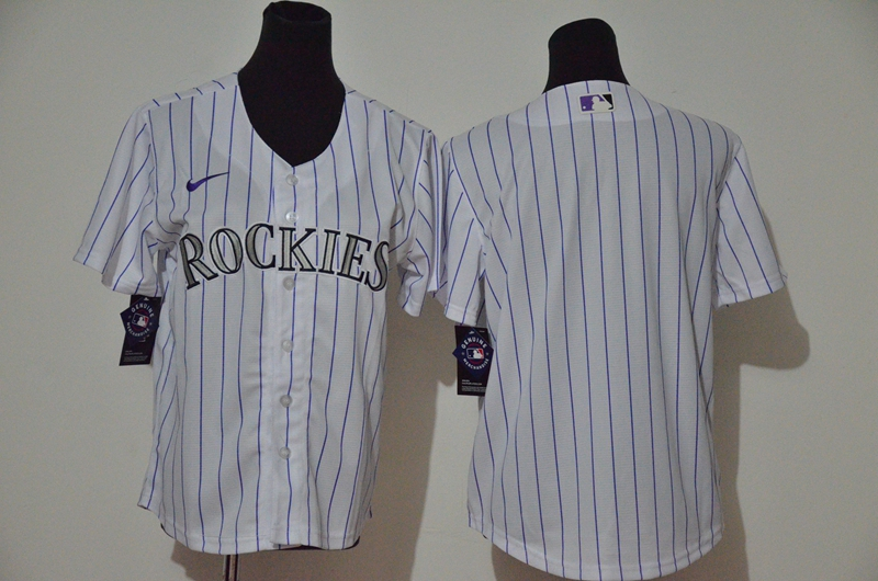 Rockies Blank White Youth Cool Base Jersey