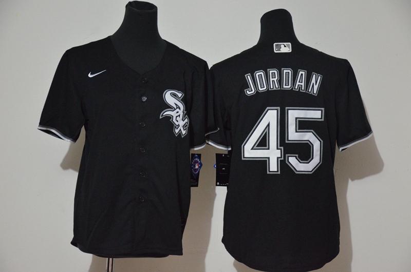 White Sox 45 Michael Jordan Black Youth 2020 Nike Cool Base Jersey