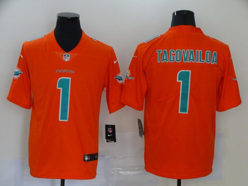 Nike Dolphins 1 Tua Tagovailoa Orange Inverted Legend Limited Jersey
