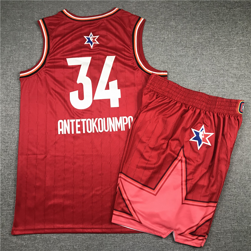 Bucks 34 Giannis Antetokounmpo Red 2020 NBA All-Star Jordan Brand Swingman Jersey(With Shorts)