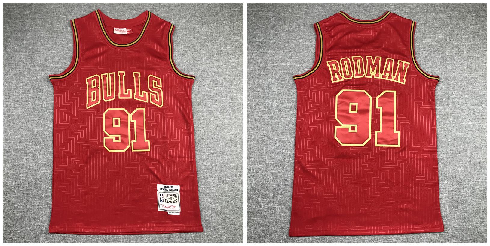 Bulls 91 Dennis Rodman Red 1997-98 Hardwood Classics Jersey