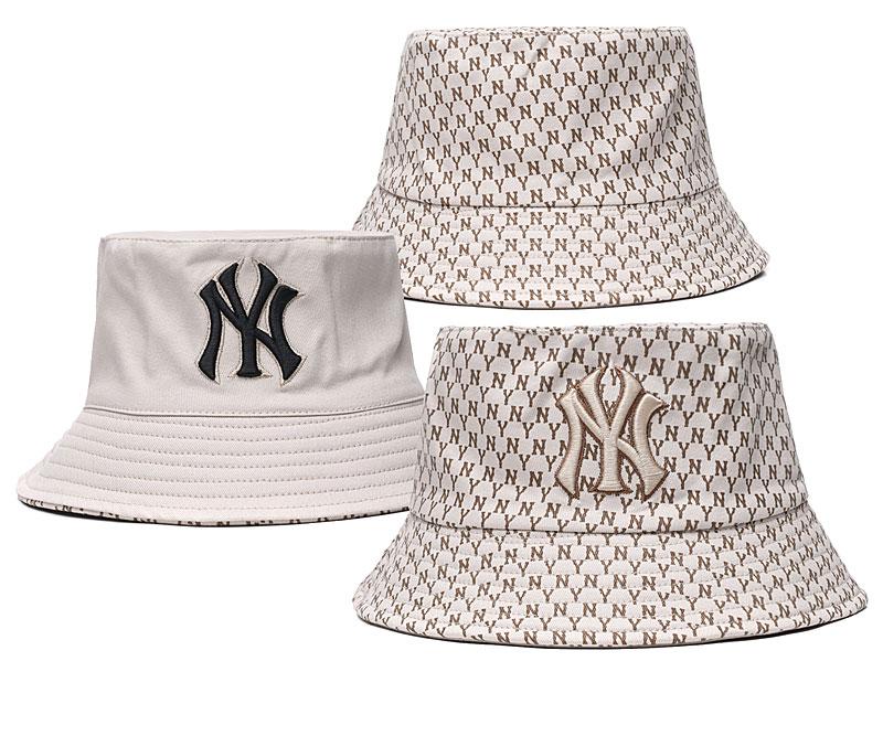 Yankees Team Logo Cream Double Side Wide Brim Hat SG