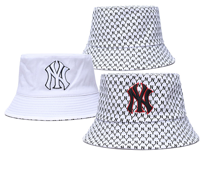 Yankees Team Logo White Double Side Wide Brim Hat SG