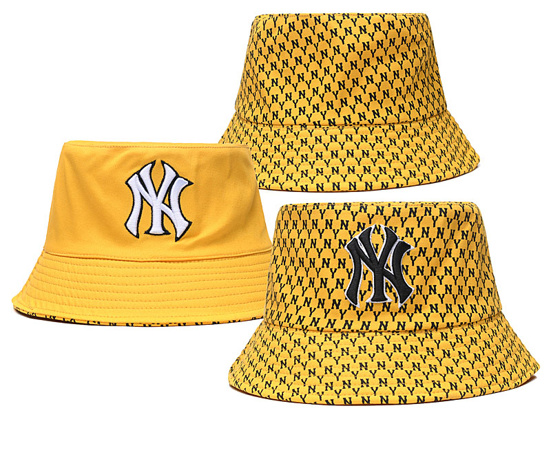 Yankees Team Logo Yellow Double Side Wide Brim Hat SG