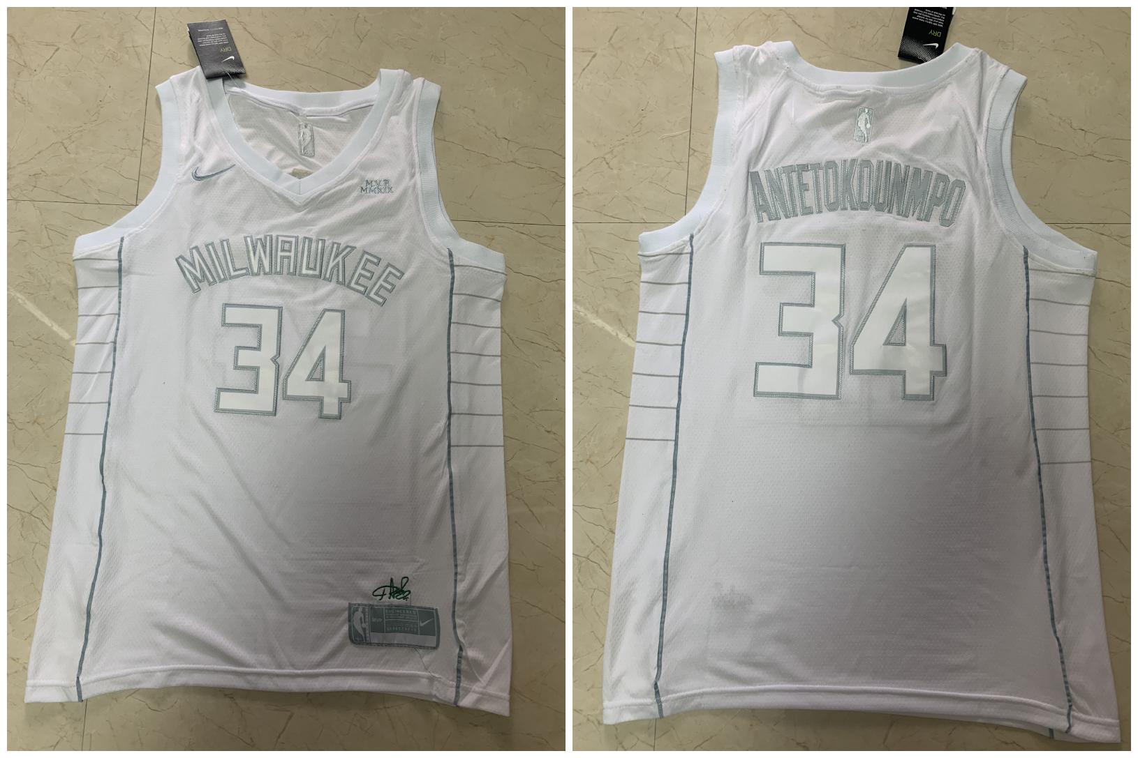 Bucks 34 Giannis Antetokounmpo White Nike Swingman MVP Jersey