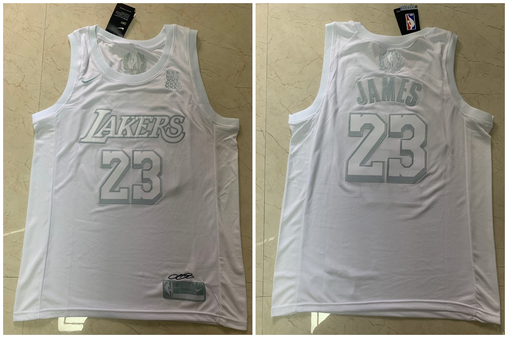 Lakers 23 Lebron James White Nike Swingman MVP Jersey