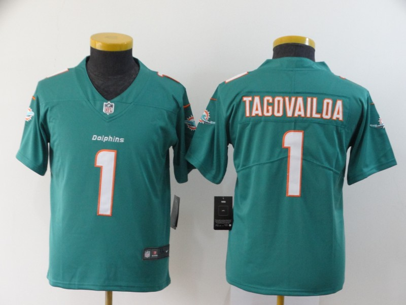 Nike Dolphins 1 Tua Tagovailoa Aqua Youth 2020 NFL Draft First Round Pick Vapor Untouchable Limited Jersey