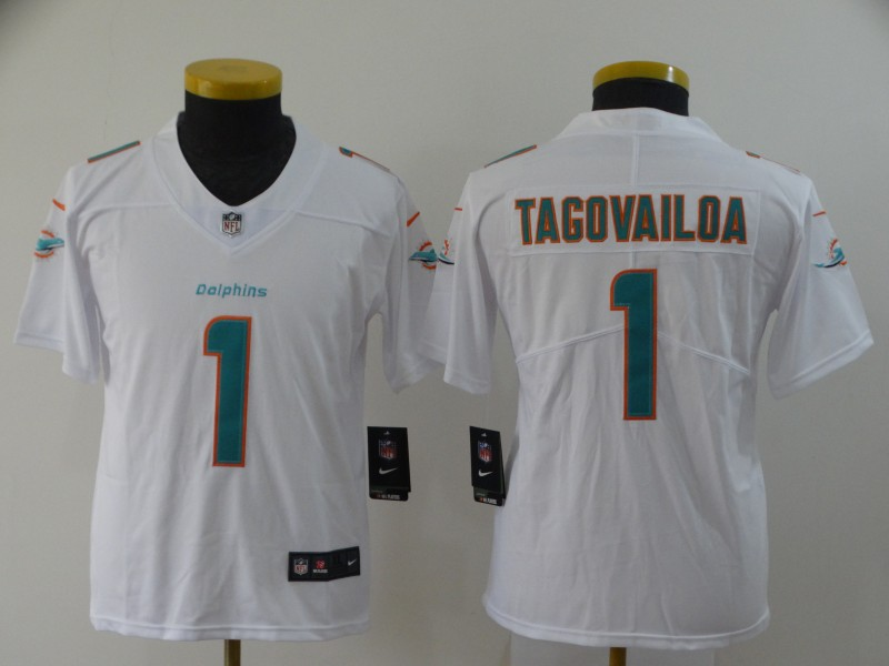 Nike Dolphins 1 Tua Tagovailoa White Youth 2020 NFL Draft First Round Pick Vapor Untouchable Limited Jersey