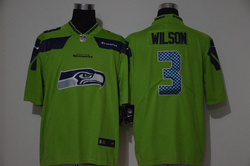 Nike Seahawks 3 Russell Wilson Green Vapor Untouchable Limited Jersey
