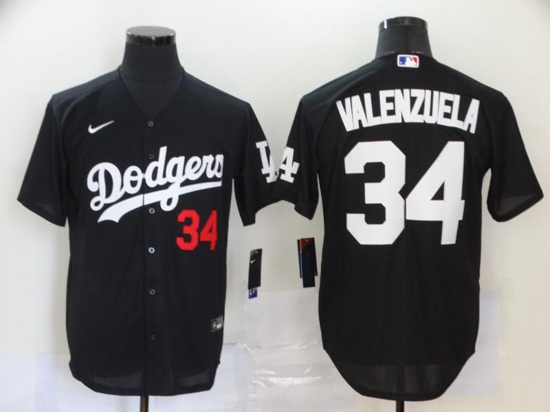 Dodgers 34 Fernando Valenzuela Black 2020 Nike Cool Base Jersey