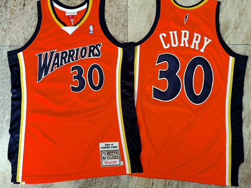 Warriors 30 Stephen Curry Orange 2009-10 Hardwood Classics Jersey