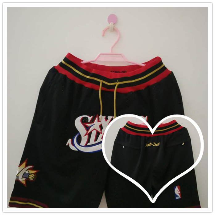 76ers Black Just Don With Pocket Swingman Shorts