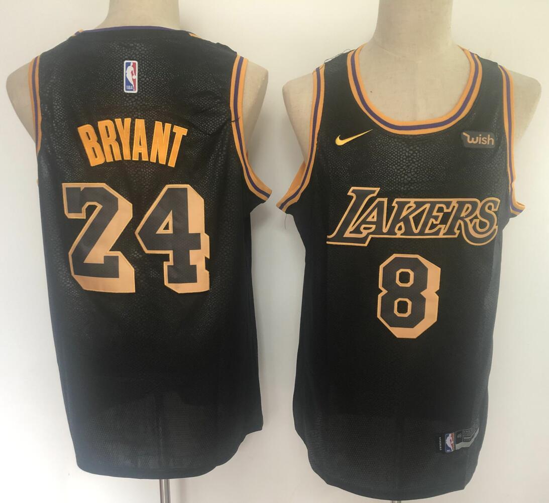 Lakers 8 & 24 Kobe Bryant Black Nike City Edition Swingman Jersey