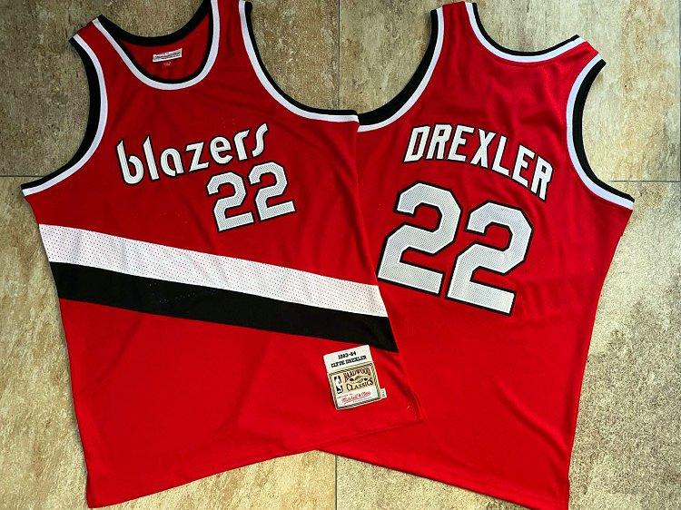 Blazers 22 Clyde Drexler Red 1983-84 Hardwood Classics Swingman Jersey