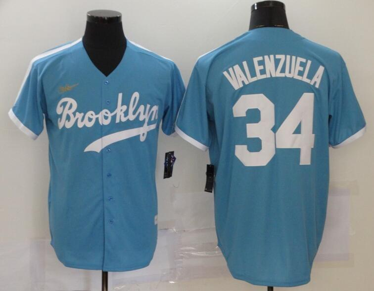 Dodgers 34 Fernando Valenzuela Light Blue 2020 Nike Cooperstown Collection Jersey