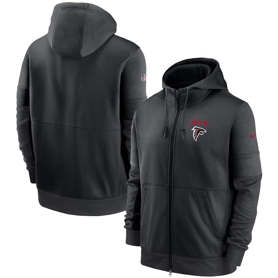 Men's Atlanta Falcons New 2020 Nike Gray Black Fan Gear Mascot Performance Full Zip Hoodie
