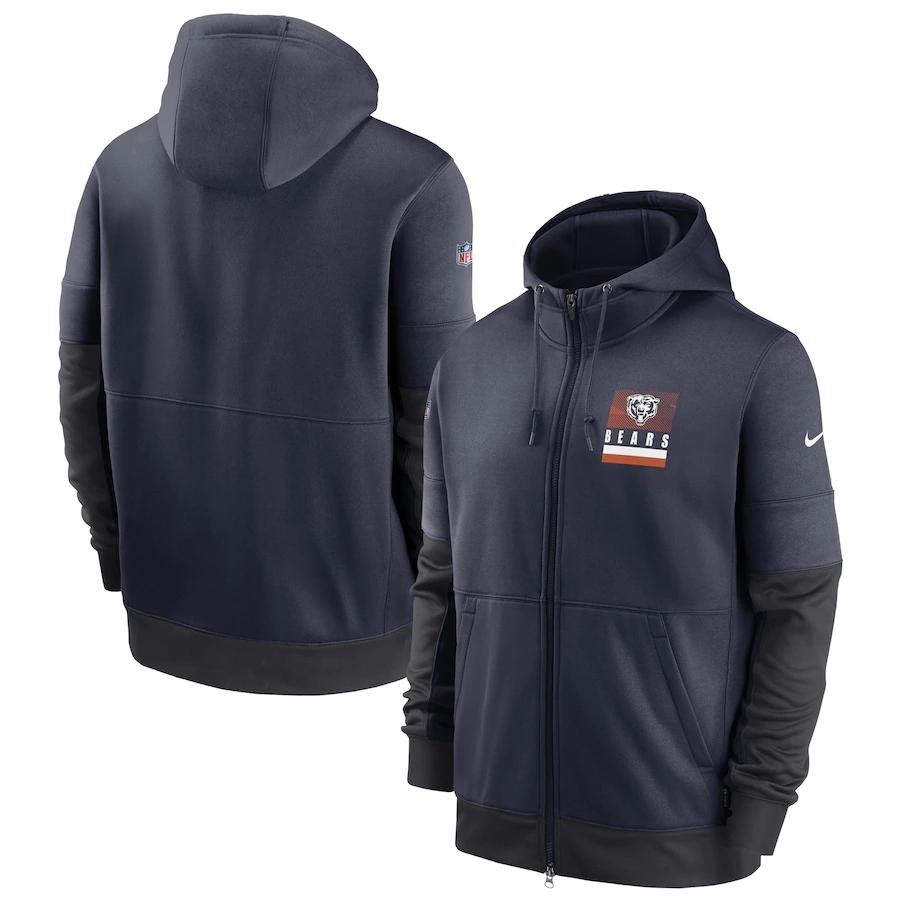Men's Chicago Bears New 2020 Nike Gray Black Fan Gear Mascot Performance Full Zip Hoodie