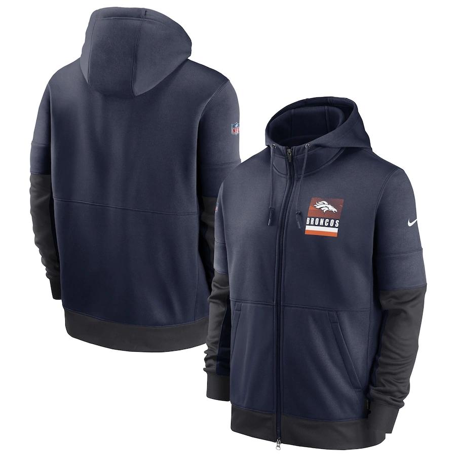 Men's Denver Broncos New 2020 Nike Gray Black Fan Gear Mascot Performance Full Zip Hoodie