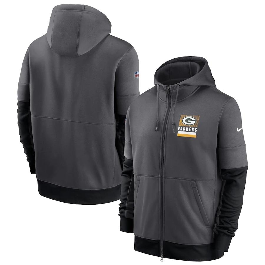 Men's Green Bay Packers New 2020 Nike Gray Black Fan Gear Mascot Performance Full Zip Hoodie