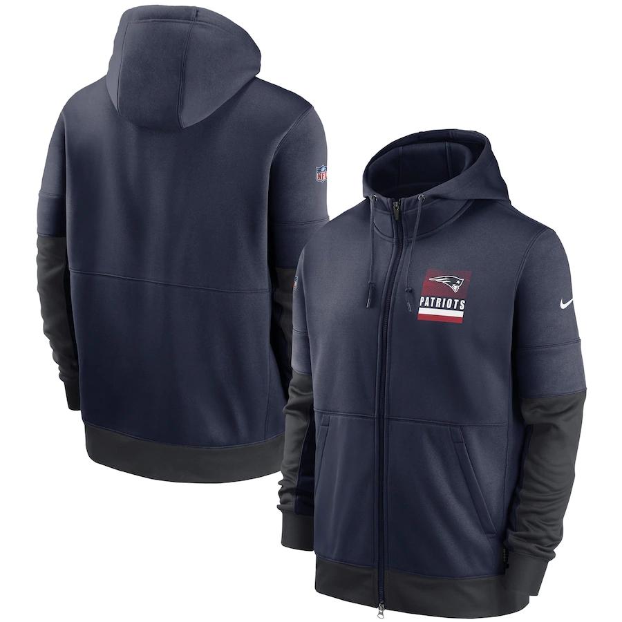 Men's New England Patriots New 2020 Nike Navy Gray Fan Gear Mascot Performance Full Zip Hoodie