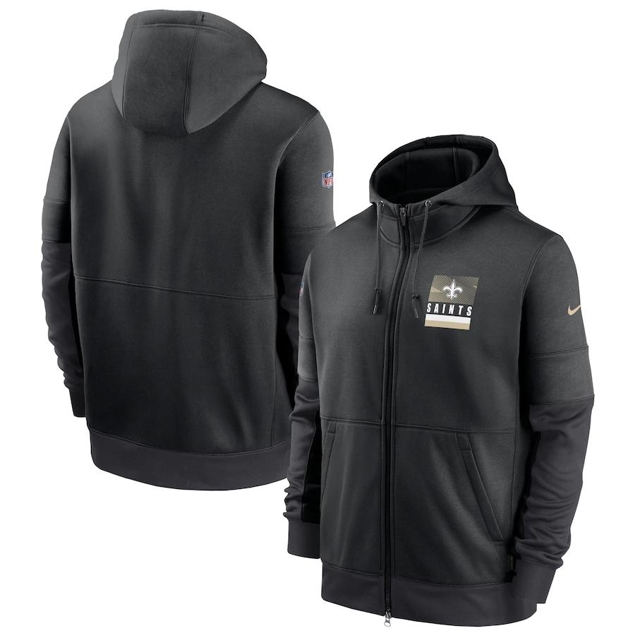 Men's New Orleans Saints New 2020 Nike Gray Black Fan Gear Mascot Performance Full Zip Hoodie