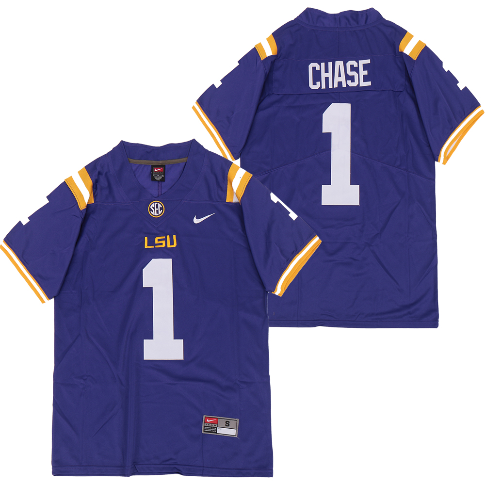 LSU Tigers 1 Ja'marr Chase Purple Nike College Football Jersey