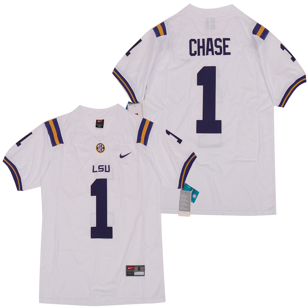 LSU Tigers 1 Ja'marr Chase White Nike College Football Jersey