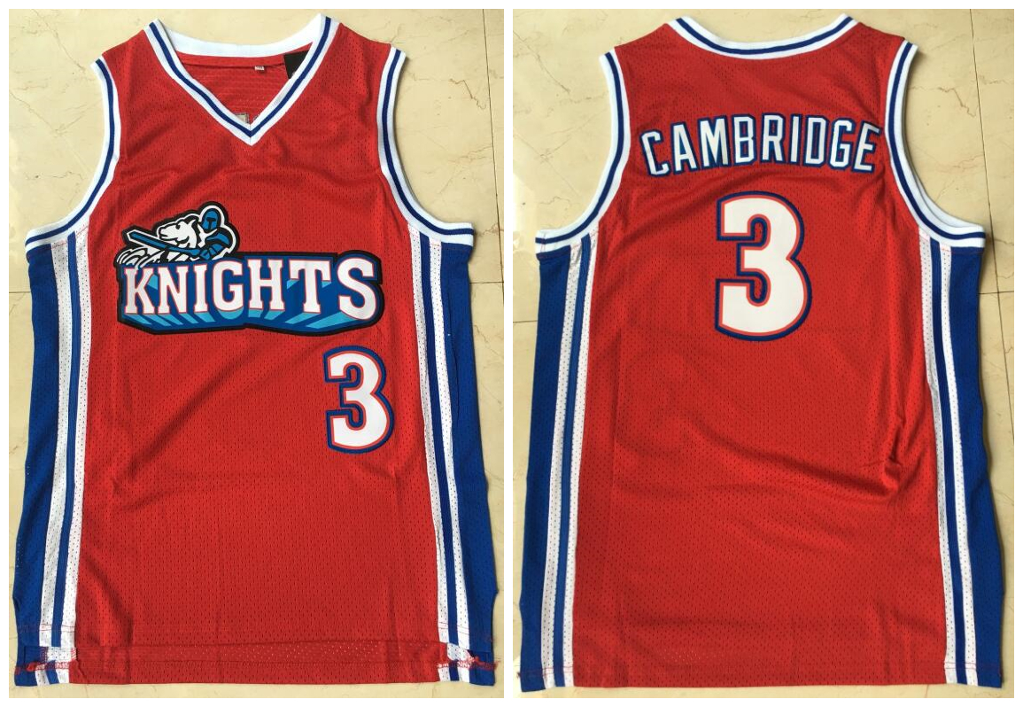 Los Angeles Knights 3 Calvin Cambridge Red Movie Basketball Jersey