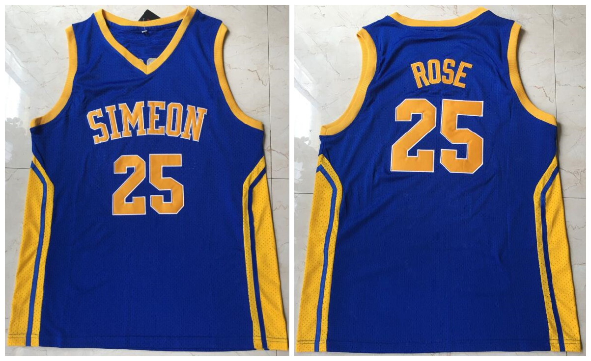 Simeon 25 Derrick Rose Blue High School Mesh Basketball Jersey