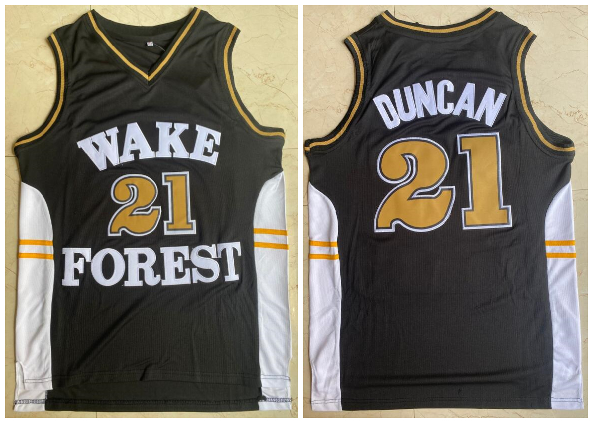 Wake Forest Demon Deacons 21 Tim Duncan Black College Basketball Jersey