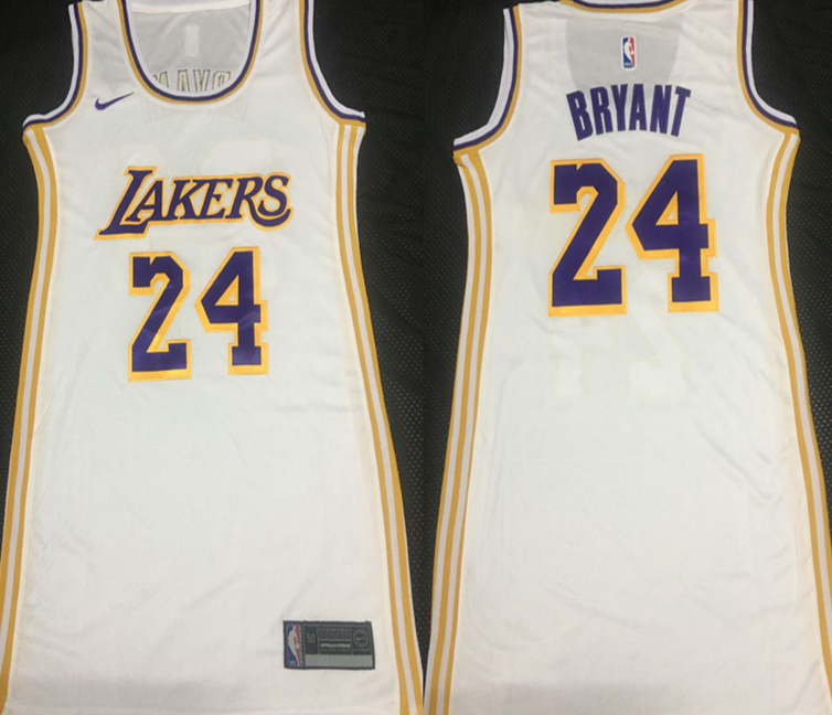 Lakers 24 Kobe Bryant White Women Nike Swingman Jersey