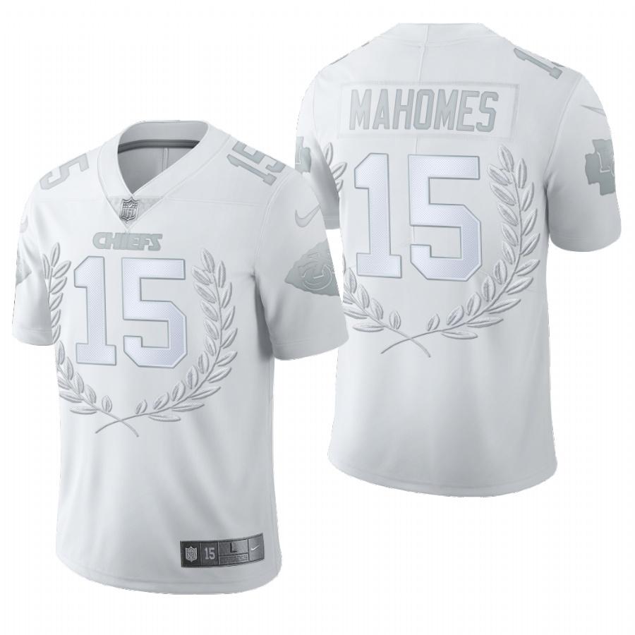 Nike Chiefs 15 Patrick Mahomes White Commemorative Edition Vapor Untouchable Limited Jersey