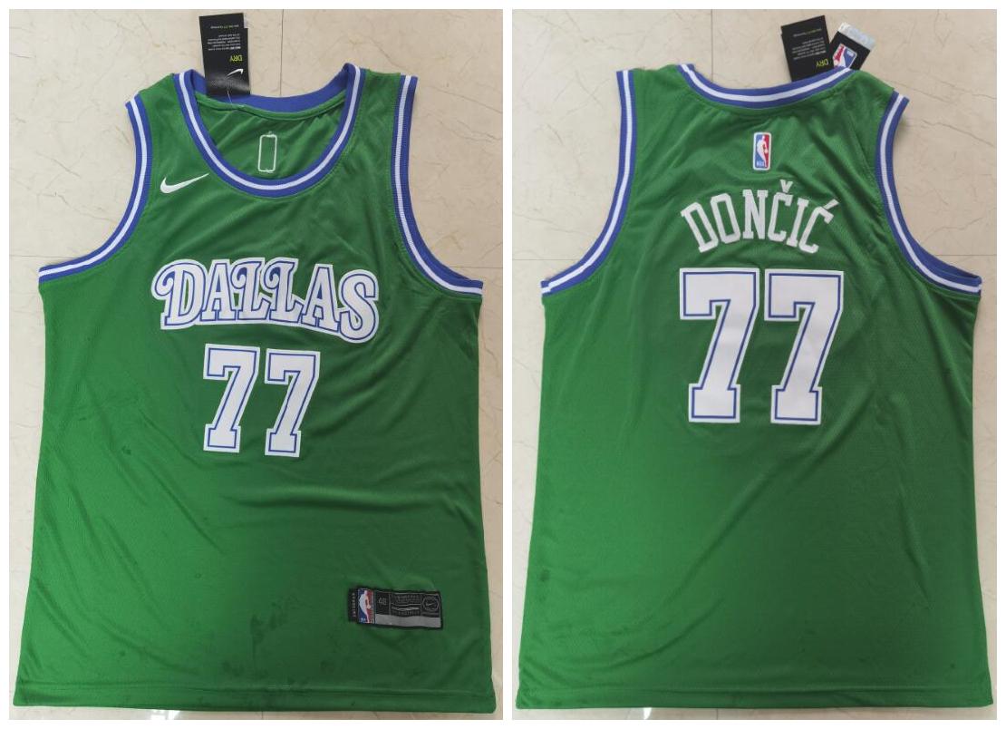Mavericks 77 Luka Doncic Green Nike Swingman Jersey