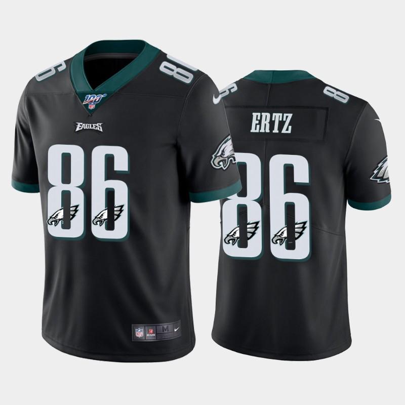Nike Eagles 86 Zach Ertz Black Number Logo Team 100th Season Vapor Untouchable Limited Jersey