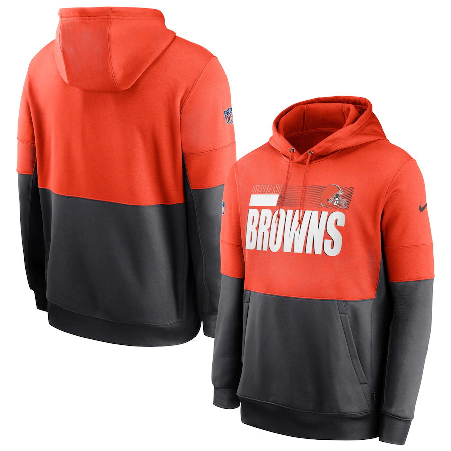 Men's Cleveland Browns Nike Orange Gray Sideline Impact Lockup Performance Pullover Hoodie