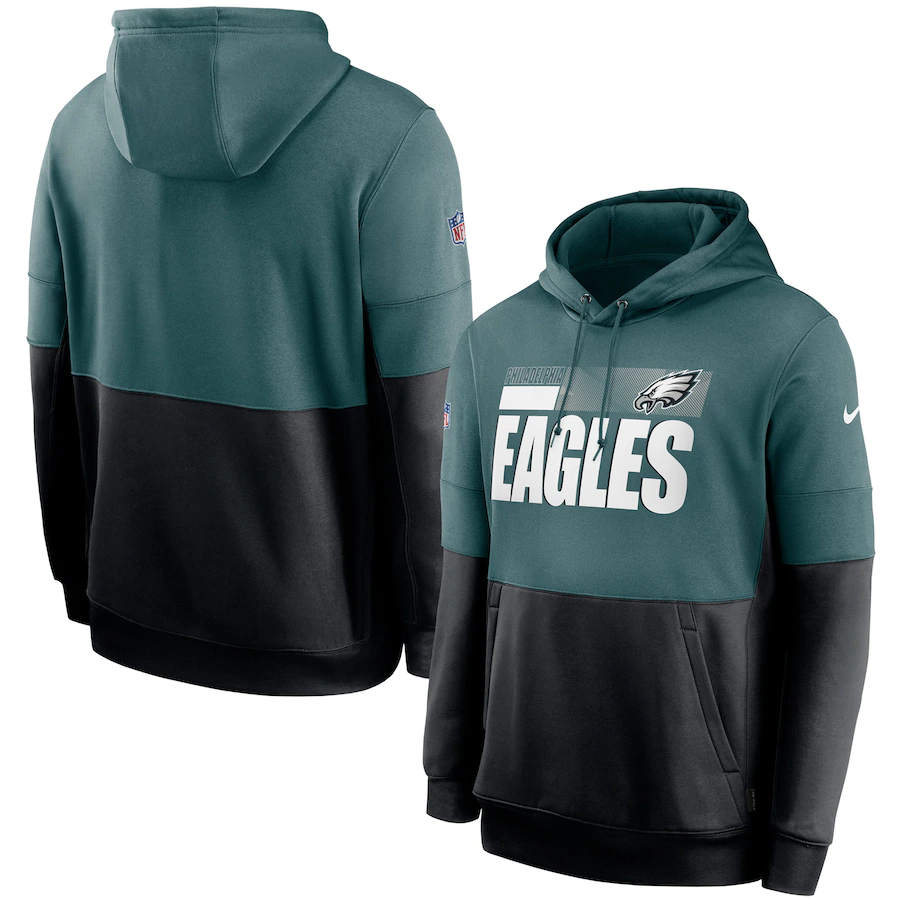 Men's Philadelphia Eagles Nike Green Black Sideline Impact Lockup Performance Pullover Hoodie