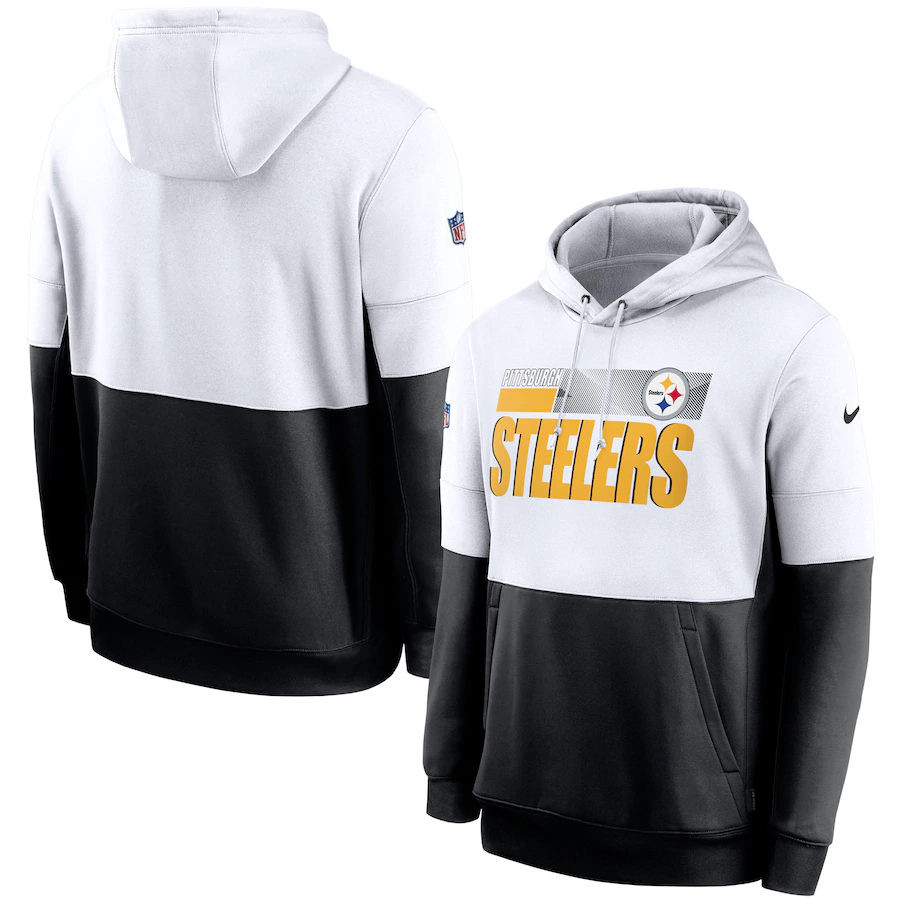 Men's Pittsburgh Steelers Nike White Black Sideline Impact Lockup Performance Pullover Hoodie