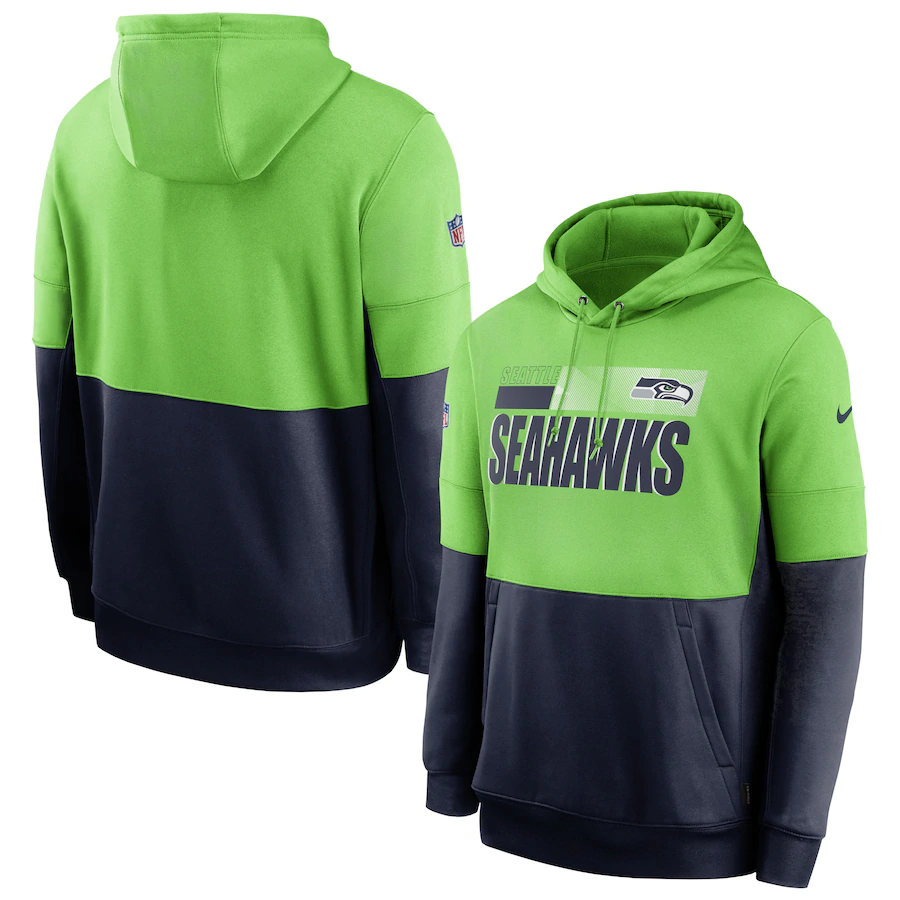 Men's Seattle Seahawks Nike Green Black College Navy Sideline Impact Lockup Performance Pullover Hoodie