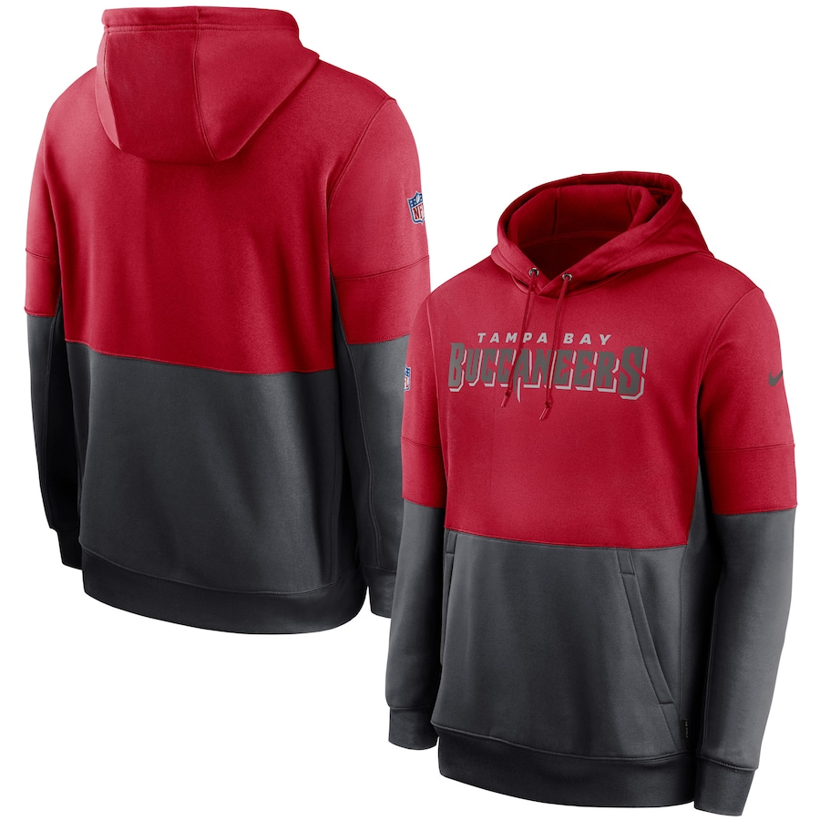Men's Tampa Bay Buccaneers Nike Red Gray Sideline Impact Lockup Performance Pullover Hoodie