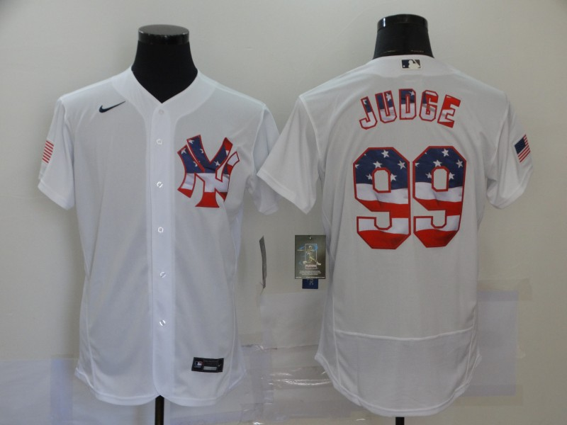 Yankees 99 Aaron Judge White USA Flag Fashion Nike Flexbase Jersey