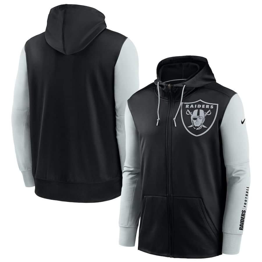 Men's Las Vegas Raiders Nike Black Silver Fan Gear Mascot Performance Full-Zip Hoodie